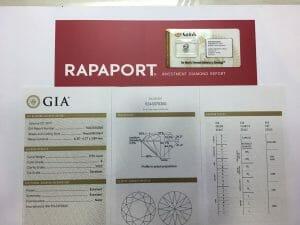 Exemple d'un certificat GIA d'un diamant.