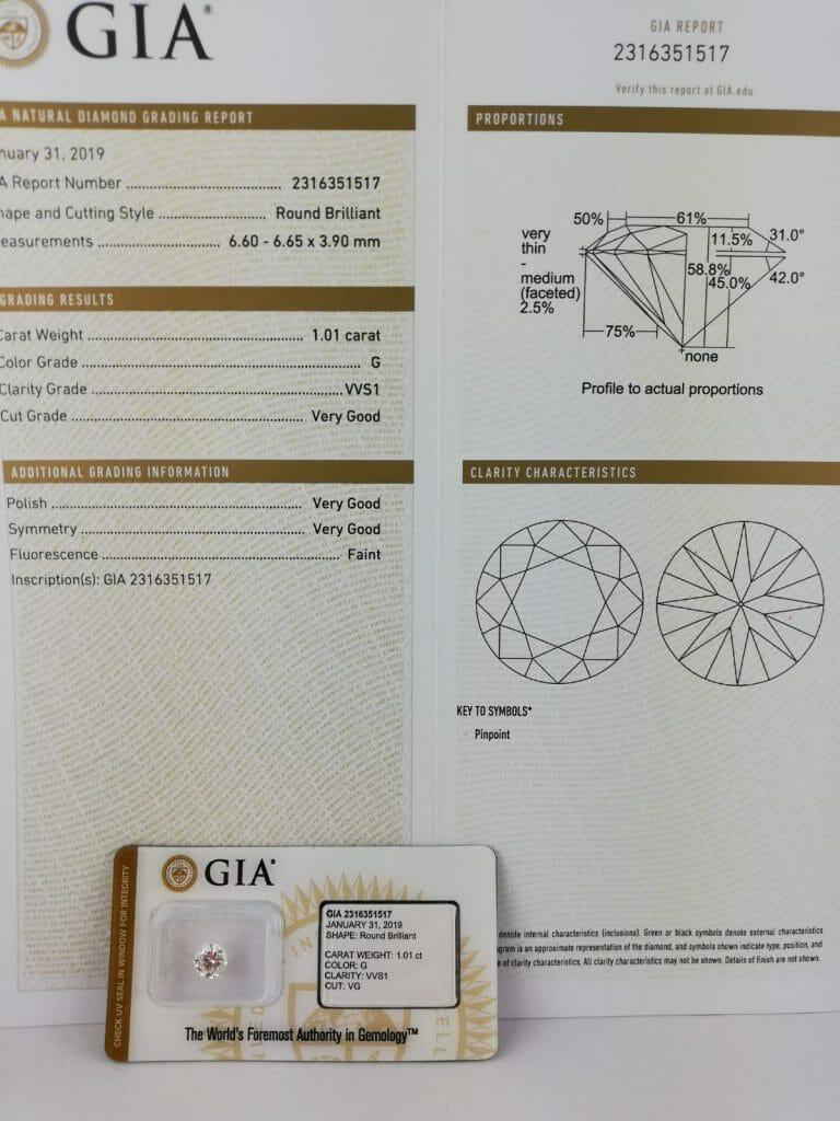 Photo montrant un certificat fournis par la GIA