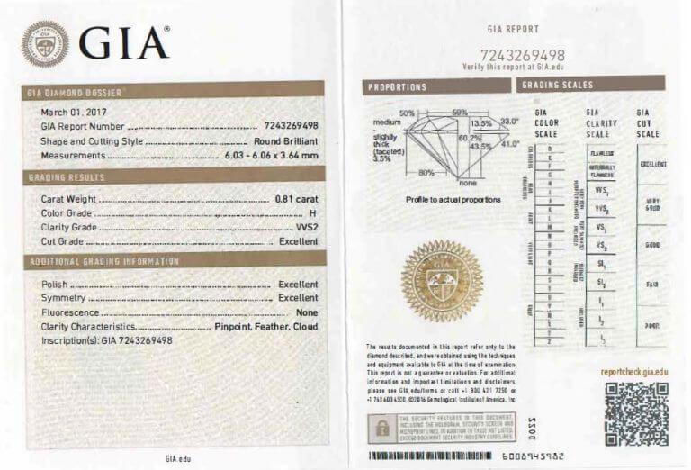 Catalogue de Diamants GIA par Diamantaire Paris. Diamant GIA 0.81cts HVVS2