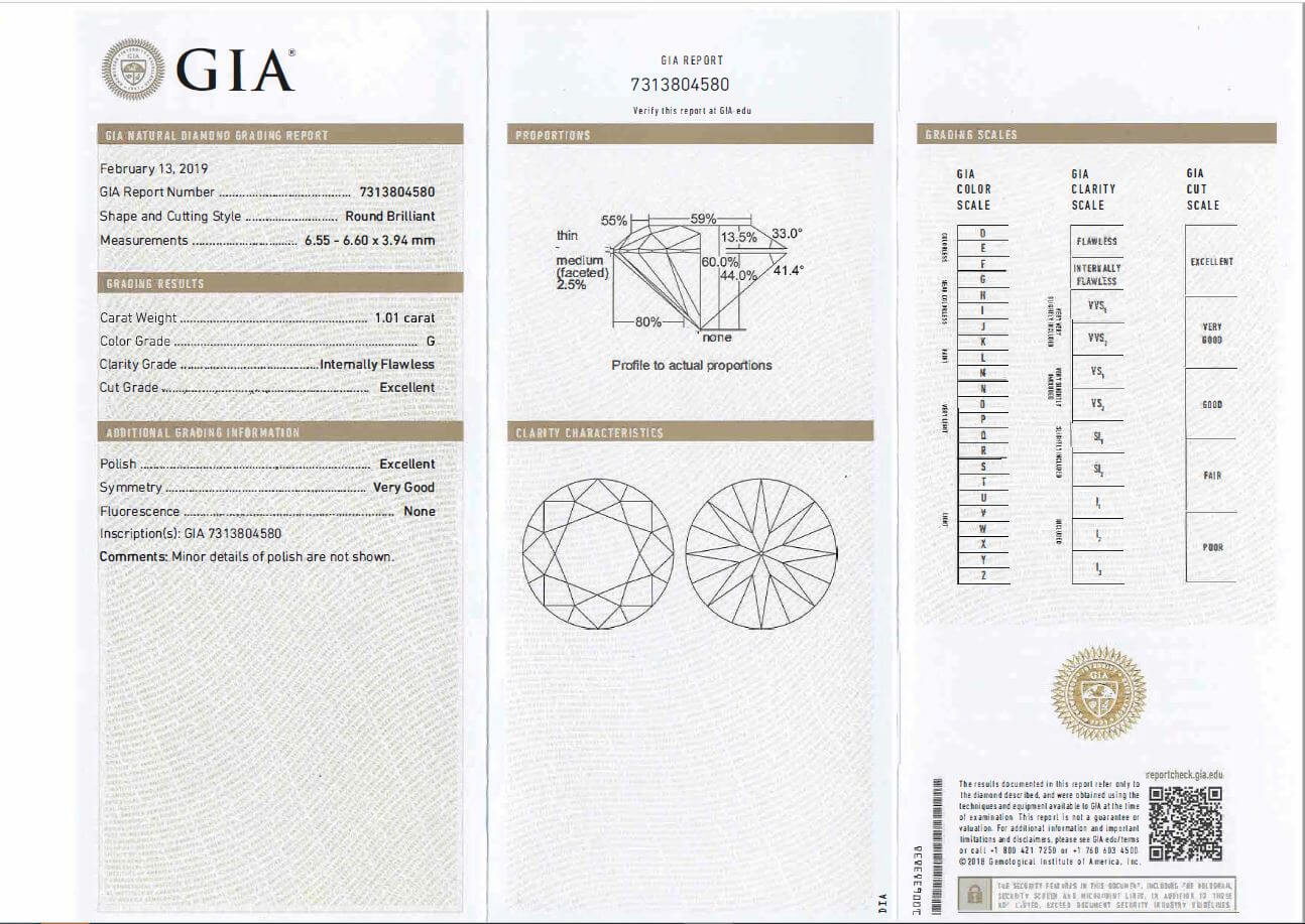 Acheter Diamant GIA 1.01 Carats - couleur G IF