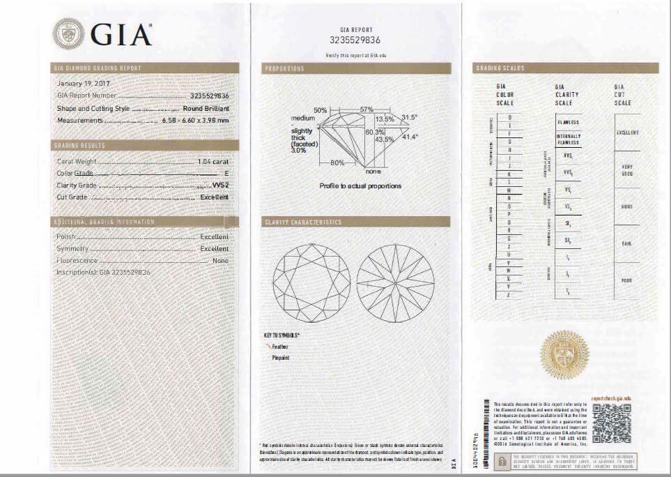 DIAMANT GIA 1.04 CTS E VVS2