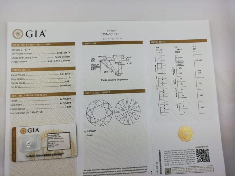 1.01 Carat GIA g vvs1 à vendre